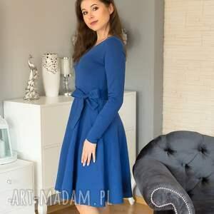 sukienki sofi sukienka rozkloszowana z długim rękawem, szafir