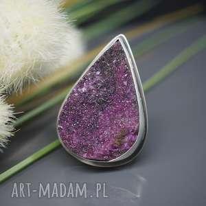 lśniąca druza rubinu - pierścionek ruby, pierścionek, rubin, druza, regulowany