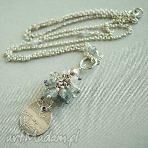 Naszyjnik ze srebra i szarego kwarcu, delikatny, kobiecy, lekki