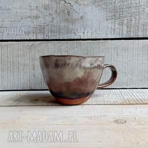 beżowa filiżanka ręcznie wykonana, kubek ceramiczny, ceramiczna