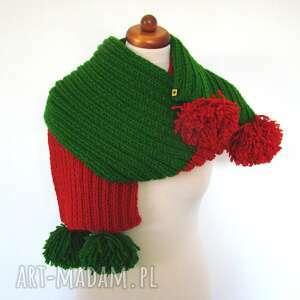ręczne wykonanie szaliki szal dwukolorowy z pomponami - różne kolory