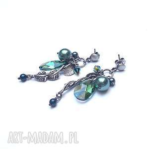 herbal-kolczyki, srebro oksydowane, listek, swarovski, perła, gronka