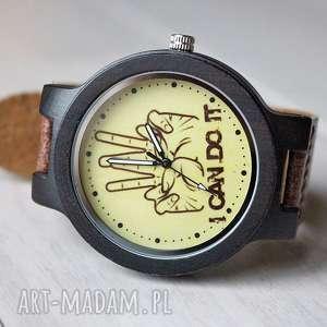 Drewniany zegarek I CAN DO IT , drewniany, motywacyjny, hebanowy,