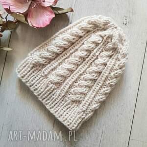gruba czapka beanie warkocze bez ecri rozmiar m / l unisex, zimowa