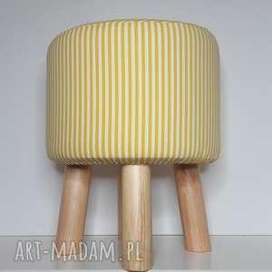 Pufa Żółte Paseczki - 36 cm , puf, taboret, hocker, vintage, siedzisko, ryczka