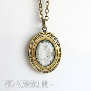 sekretnik, medalion, naszyjnik - sowa - otwierany (prezent)