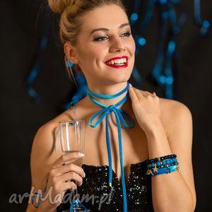 choker - blue bow - choker, welur, aksamit