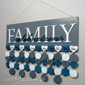 kalendarz rodzinny, urodzinowy, dowolne kolory i napisy