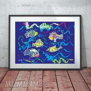 rybki obrazek dla dzieci, plakat z rybkami, ryby
