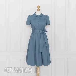 gabriel sukienka z kołnierzykiem bebe, niebieska, sukienka, marszczona