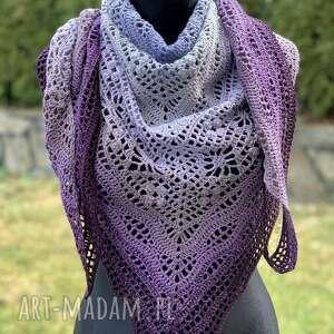 Ręcznie wykonana chusta w odcieniach fioletu i niebieskiego 1