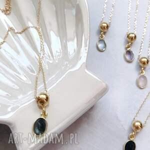 IN STONES: naszyjnik - labradoryt, zawieszka łańcuszek, kamienie naturalne, złoto