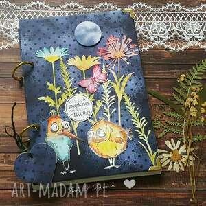 stylowy sekretnik zakręcone ptaki, notes, kwiaty, ptaszki, serce, życzenia