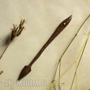 hebanowa szpilka do włosów z obsydianem, włosów, drewniana