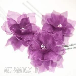 hand-made ozdoby do włosów w kolorze fioletu