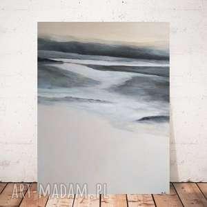 abstrakcja w szarościach z beżami -obraz akrylowy formatu 40/50 cm, abstrakcja, obraz
