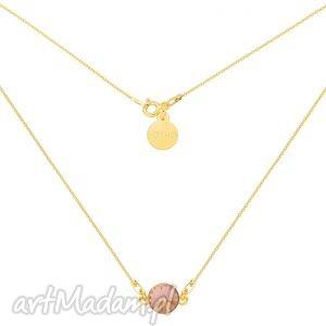 złoty naszyjnik z łososiowym pastelowym kryształem - łańcuszek