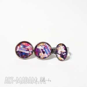 Prezent Komplet - kolczyki i pierścionek fioletowy, kolorowy, kolczyki,