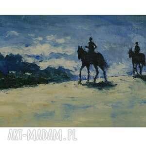 w samo południe, olej na płótnie, obraz olejny, pejzaż, konie, spacer