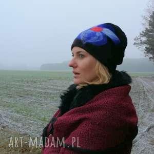 czapka wełniana damska czarna - czapka, wełna, etno, kolorowa, ciepła, prezent