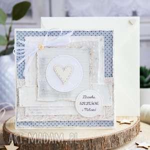 śliczna, warstwowa kartka z serduszkiem personalizacja koperta, serce