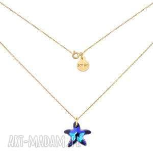 ręcznie robione naszyjniki złoty naszyjnik z rozgwiazdą swarovski® crystal