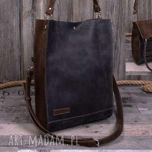 ręcznie robiona skórzana torebka, brązowa damska