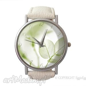 Lekkość - Skórzany zegarek z dużą tarczką, zegarek, skórzany, lekkość, liście