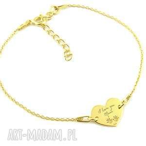 pozłacana bransoletka serce i love you mum, pozłacana, bransoletka, złota