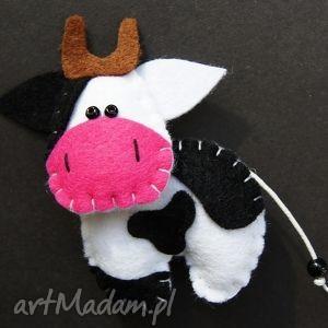 krówka - broszka z filcu - krowa, broszka, filc, rękodzieło, dziecko, prezent