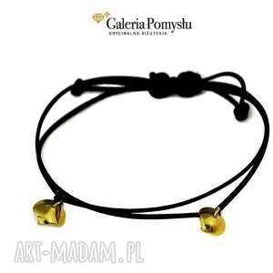 złote serduszka - złocone, serce, minimalistyczna, 925, sznurek, jedwabny