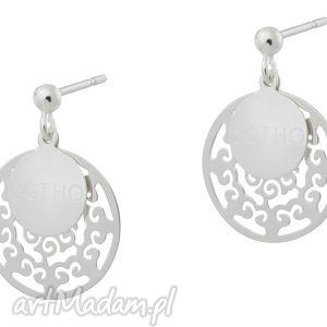 sotho modowe logowane kolczyki srebrne orientalne arabskie, sztyfty, rozety