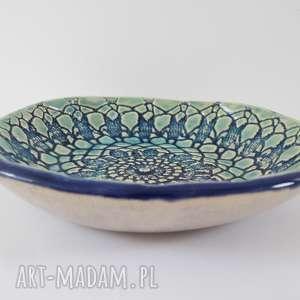 ceramika koronkowa granatowo turkusowa miseczka, z koronką, miska, ceramiczna