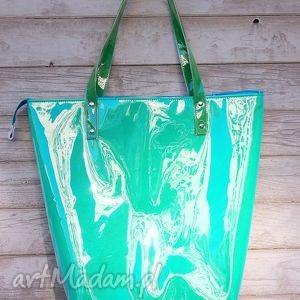 mana neon laguna - duża, wielka, błyszcząca, torba, neon, folia