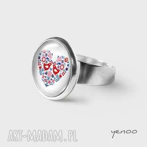 pierścionek - folkowe ptaszki, pierścionek, grafika, regulowany, folkowy