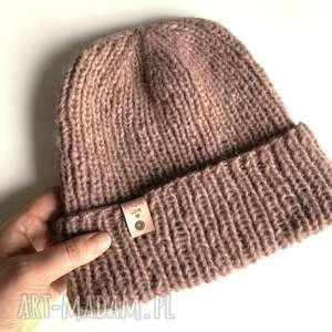 czapki ręcznie robiona czapka hand made alpaka air stary róż, czapka, czapki