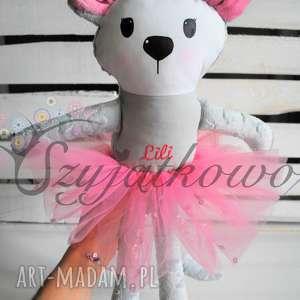 prezent na święta, myszka baletnica z haftem, myszka, przytulanka, dladziewczynki