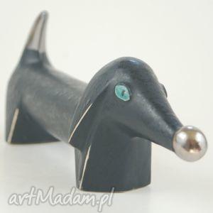 pies na biżuterię - czarna ceramika, zwierzęta, psy