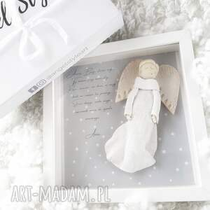 ręcznie wykonane pokoik dziecka anioł szczęścia w ramce prezent
