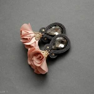 kolczyki sutasz z kwiatkiem, sznurek, pudrowe, wiszące, grafitowe, eleganckie