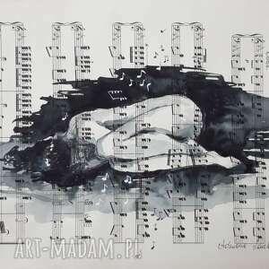 kiedy przenika tylko muzyka akwarela na papierze z nutami artystki adriany laube