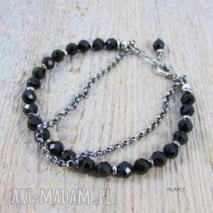 czarny turmalin - bransoletka z łańcuszkiem, turmalin, srebro, bransoletka