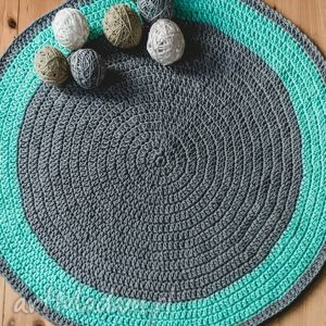 dywan 110 cm ze sznurka bawełnianego, szary, miętowy, dywan, chodnik, sznurek