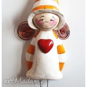elf, anioł, wiszący, serce, ceramika