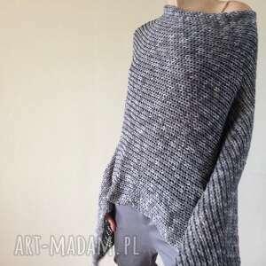 melanżowe ponczo z grubej bawełny, ponczo, narzutka, sweter, dzianina, bawełna