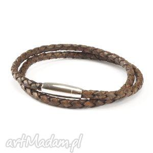 męska men leather antique brown, bransoletka, męska, skóra, naturalna biżuteria