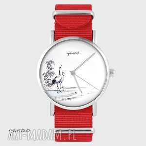 zegarek - japońskie żurawie czerwony, nato, zegarek, bransoletka, nato