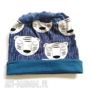 hand made czapki czapka dziecięca bawełniana wiosenna w misie handmade