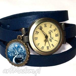 handmade zegarki zimowe drzewo - zegarek / bransoletka na skórzanym pasku