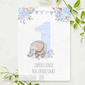 Zaproszenia na 1 urodzinki ze słonikiem roczek urodziny - 3